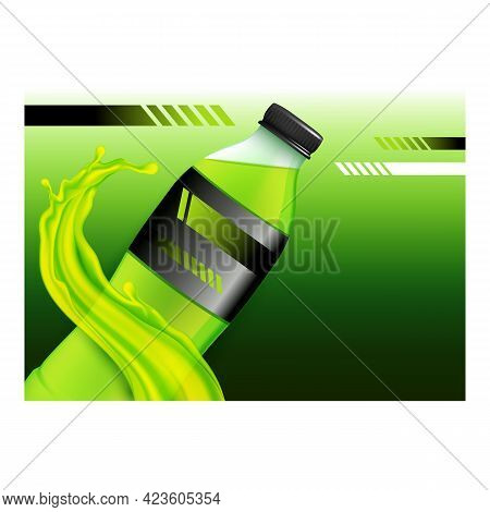 Sport Isotonic Drink Promotional Poster Vector. Energy Isotonic Drink Blank Bottle And Splash On Adv