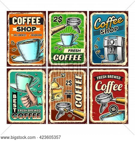 Coffee Shop Creative Advertise Posters Set Vector. Energy Drink Cup And Roasted Beans, Coffee Machin
