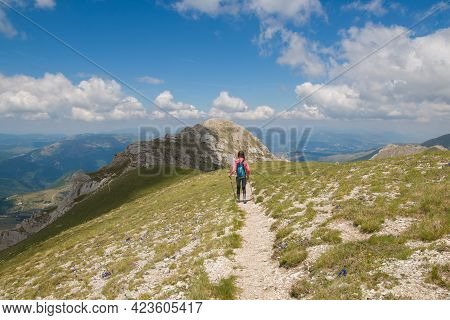 Panoramic View Of Monte Bicco In The National Park Of Monti Sibillini, Macerata, Marche, Italy