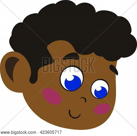 Cute And Adorable African American Kid. Cute Face With Innocent Expressions And Curly Hair Looking H