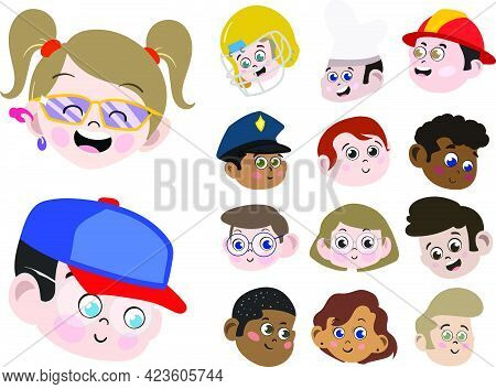 Big Vector Pack Of 14 Faces Of Kids Of Different Gender Race And Professions. Cute And Adorable Chil