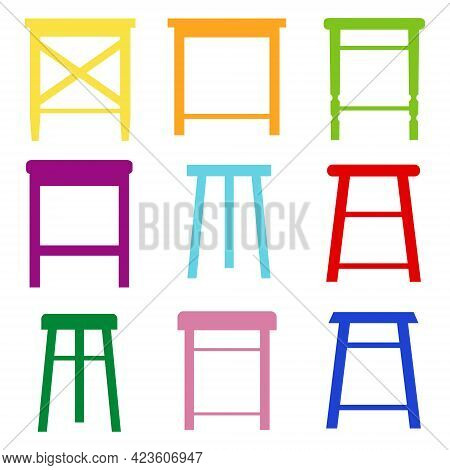 Stool Icon. Set Of Colored Stools On A White Background. Vector Illustration. Vector.