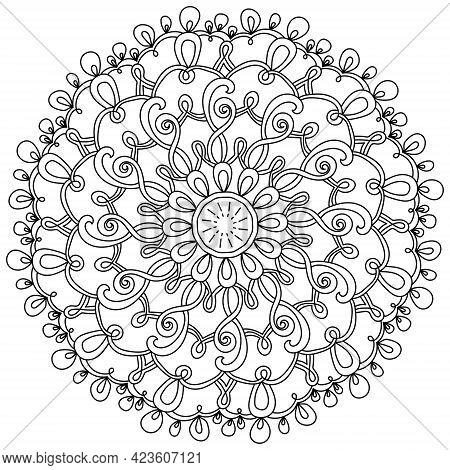 Outline Mandala With Many Loops, Meditative Coloring Page With Ornate Patterns Vector Illustration