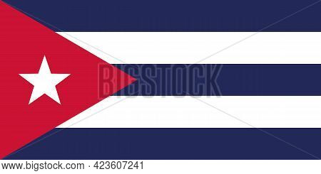 National Flag Of The Country Of Cuba. Flag Of The Republic Of Cuba. State Symbol. National Day Of In