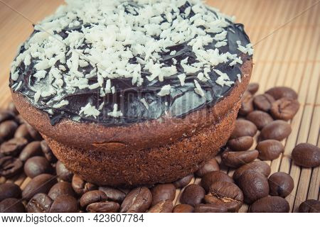 Fresh Baked Homemade Muffins With Chocolate, Coffee And Desiccated Coconut. Delicious Dessert For Di