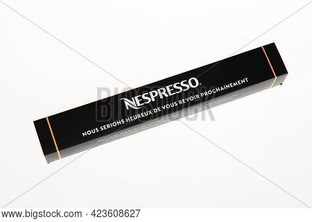 Perpignan , Occitanie France - 06 06 2021 : Nespresso Doses Closed Box Of Sample Pod Aluminum Metal