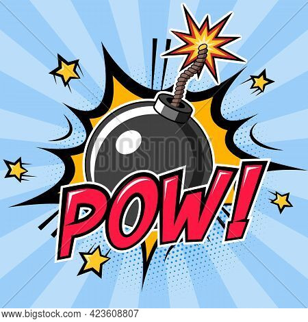 Bomb With Burning Fuse And Explosion With Pow Text. Vector Illustration In Cartoon Comic Style
