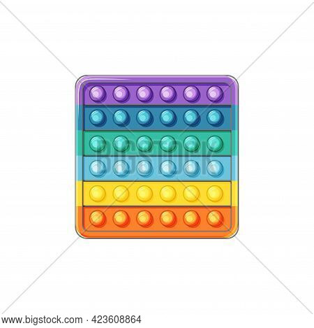 Square Pop It. Silicone Toy On A White Background. Antistress Toys Fidget Sensory And Simple Dimple.