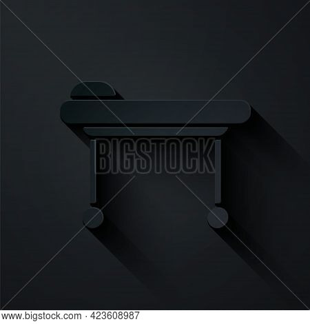 Paper Cut Stretcher Icon Isolated On Black Background. Patient Hospital Medical Stretcher. Paper Art