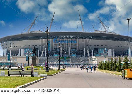 People Walk Near Zenit Stadium During Euro 2020 Championship In St. Petersburg