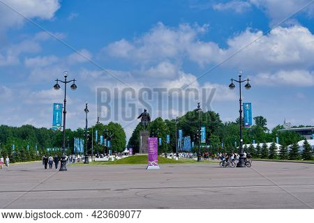 Flags Of The Euro 2020 Football Championship Near The Stadium In St. Petersburg