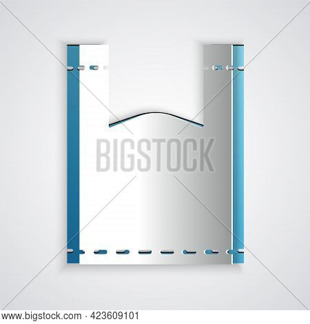 Paper Cut Plastic Bag Icon Isolated On Grey Background. Disposable Cellophane And Polythene Package