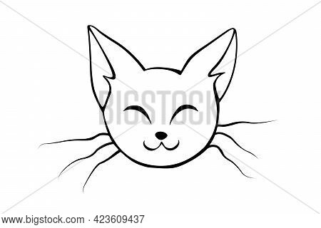 Outline Muzzle Of Cute Cat. Vector Illustration In Doodle Style, Isolated. Funny Icon, Clipart, Desi