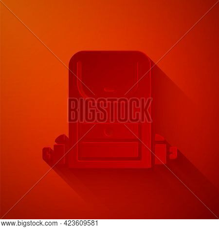 Paper Cut Hiking Backpack Icon Isolated On Red Background. Camping And Mountain Exploring Backpack.