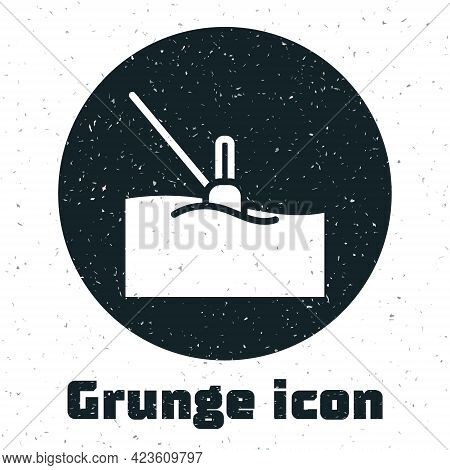 Grunge Fishing Float In Water Icon Isolated On White Background. Fishing Tackle. Monochrome Vintage