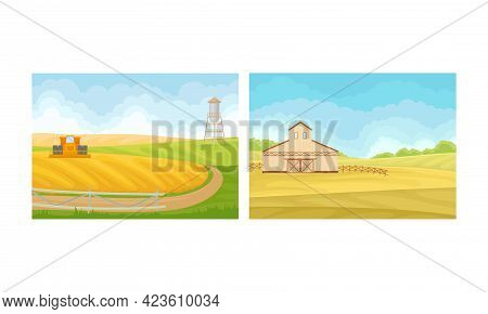 Country View With Sown Field, Barn House And Pasture Land As Green Landscape Vector Set