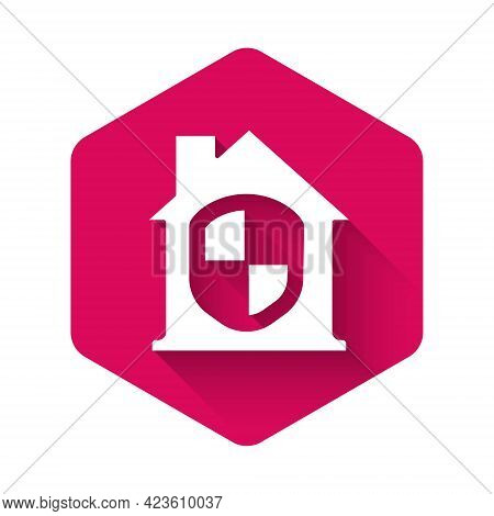 White House Under Protection Icon Isolated With Long Shadow. Home And Shield. Protection, Safety, Se