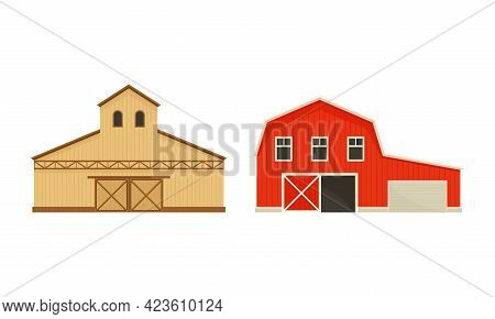 Timbered Red Barn Or Granary For Crop Storage Vector Set