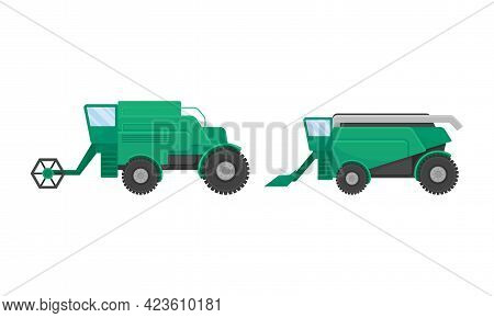 Heavy Machinery For Agricultural Work And Farming Industry Vector Set