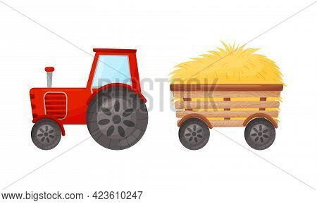 Dry Hay And Tractor As Implement For Crop Harvesting Vector Set