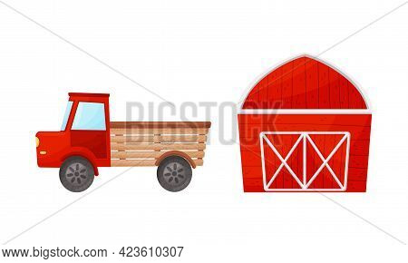 Timbered Red Barn Or Granary For Crop Storage And Van Vector Set