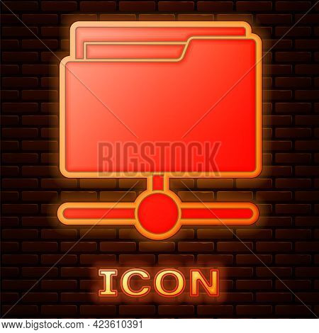 Glowing Neon Ftp Folder Icon Isolated On Brick Wall Background. Software Update, Transfer Protocol,