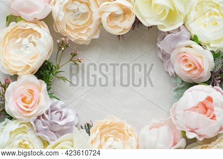Pastel flowers frame white template