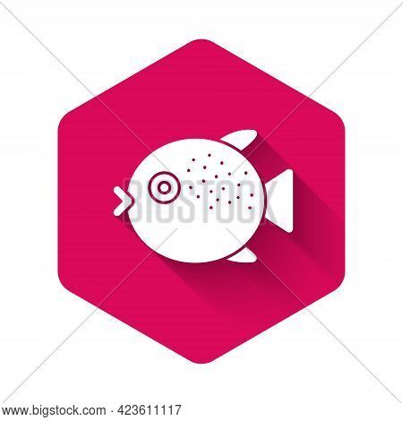 White Puffer Fish Icon Isolated With Long Shadow. Fugu Fish Japanese Puffer Fish. Pink Hexagon Butto
