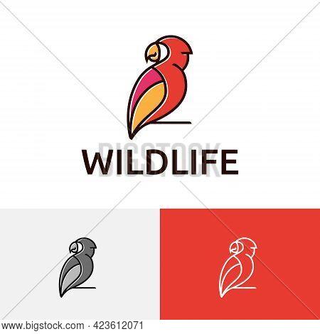 Beautiful Exotic Parrot Macaw Bird Perching Wildlife Logo