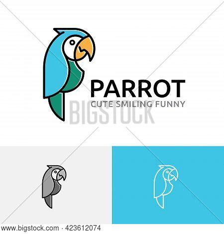 Beautiful Exotic Parrot Macaw Bird Smiling Wildlife Logo