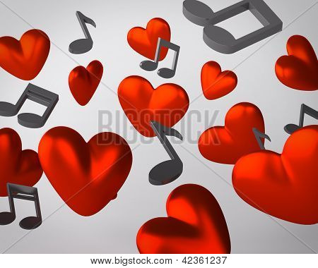 Background with hearts and musical notes
