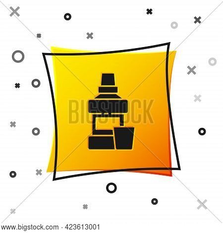 Black Mouthwash Plastic Bottle And Glass Icon Isolated On White Background. Liquid For Rinsing Mouth