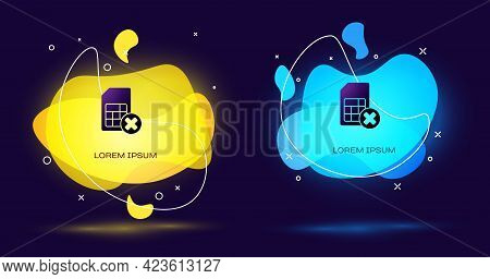 Black Sim Card Rejected Icon Isolated On Black Background. Mobile Cellular Phone Sim Card Chip. Mobi