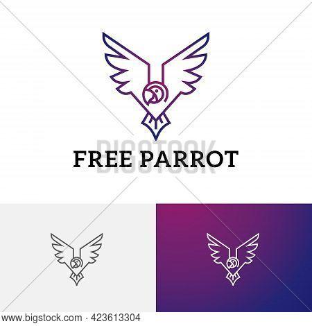 Beautiful Exotic Parrot Macaw Bird Wings Wildlife Logo