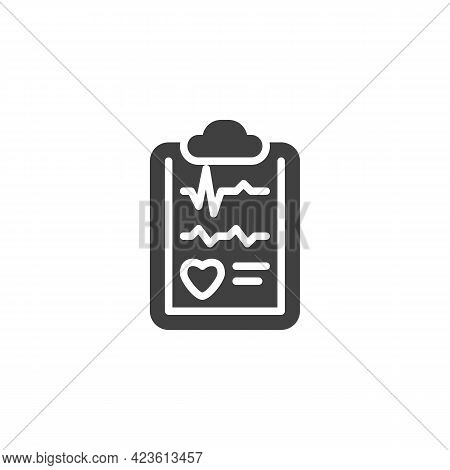 Cardiology Report Vector Icon. Filled Flat Sign For Mobile Concept And Web Design. Heart Health Chec