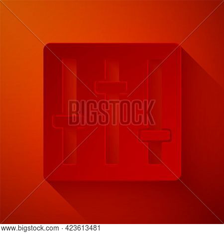 Paper Cut Sound Mixer Controller Icon Isolated On Red Background. Dj Equipment Slider Buttons. Mixin