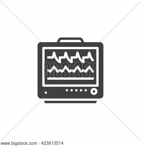 Ecg Monitor Vector Icon. Filled Flat Sign For Mobile Concept And Web Design. Heart Rate Monitor Glyp