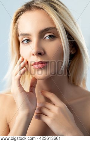 Anti-aging Skincare. Skin Rejuvenation. Aesthetic Cosmetology. Relaxed Woman With Natural Makeup Tou