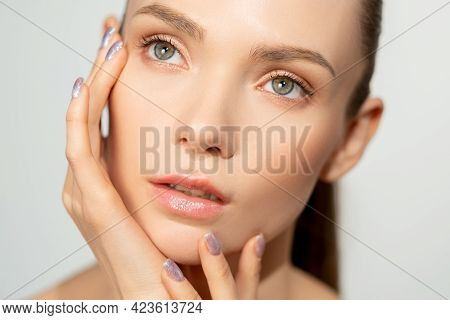 Natural Beauty. Organic Skincare. Facial Treatment. Freshness Wellness. Relaxed Woman With Nude Make