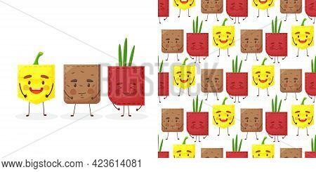 Seamless Pattern Paprika Potato Onion Shaped Patch Pocket. Character Pocket Paprika Potato Onion. Ca