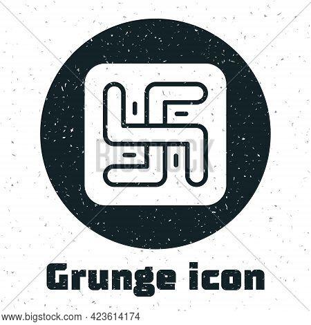 Grunge Hindu Swastika Religious Symbol Icon Isolated On White Background. Monochrome Vintage Drawing