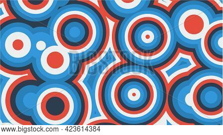 Abstract Background Of Multicolored Concentric Circles In Red And Blue Colors. Vector Illustration.