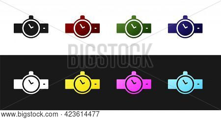 Set Wrist Watch Icon Isolated On Black And White Background. Wristwatch Icon. Vector