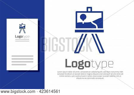 Blue Wood Easel Or Painting Art Boards Icon Isolated On White Background. Logo Design Template Eleme