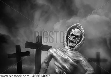 Skeleton Of Corpse Emerged From The Grave. Resurrect From The Dead, Halloween Concept