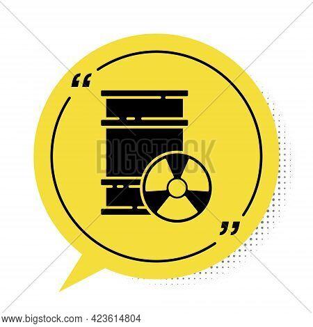 Black Radioactive Waste In Barrel Icon Isolated On White Background. Toxic Refuse Keg. Radioactive G