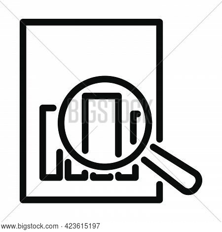 Magnificent Glass On Paper With Chart Icon. Bold Outline Design With Editable Stroke Width. Vector I