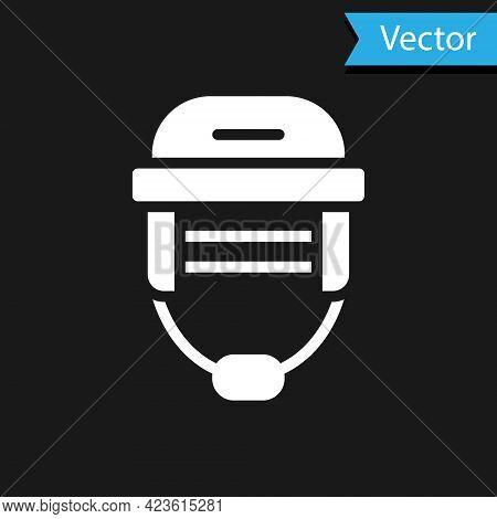 White Hockey Helmet Icon Isolated On Black Background. Vector