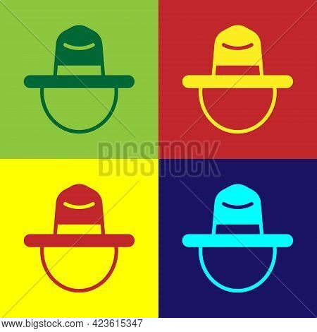 Pop Art Canadian Ranger Hat Uniform Icon Isolated On Color Background. Vector