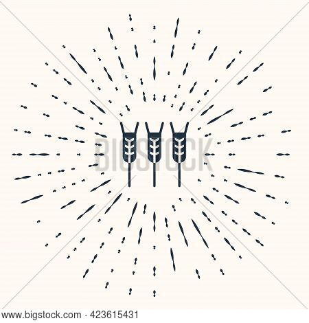 Grey Cereals Set With Rice, Wheat, Corn, Oats, Rye, Barley Icon Isolated On Beige Background. Ears O